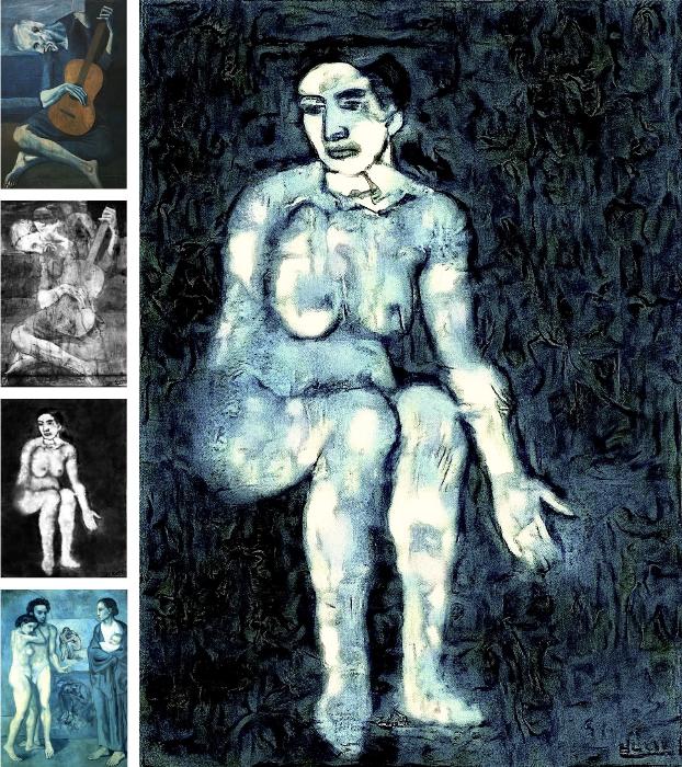 """учёные раскрасили изображение женщины, обнаружённое под слоем краски картины Пикассо """"Старый гитарист"""". Фото https://arxiv.org/pdf/1909.05677v1.pdf"""
