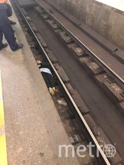 """Поезда встали на синей ветке в сторону Купчино от Технологического института. Фото https://vk.com/spb_today?w=wall-68471405_11961439, """"Metro"""""""