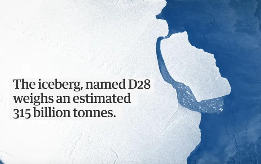 Вес айсберга D28 составляет 315 млрд тонн. Фото Скриншот https://www.youtube.com/watch?v=mA9dooj1_0I, Скриншот Youtube