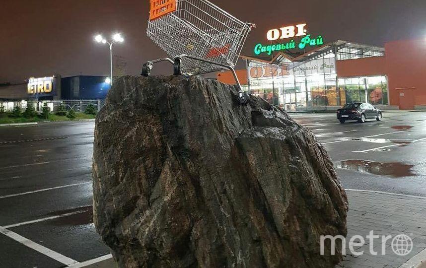 "Инсталляция появилась на Пулковском шоссе у хозяйственного супермаркета. Фото Lonesome_Grass/instagram, ""Metro"""