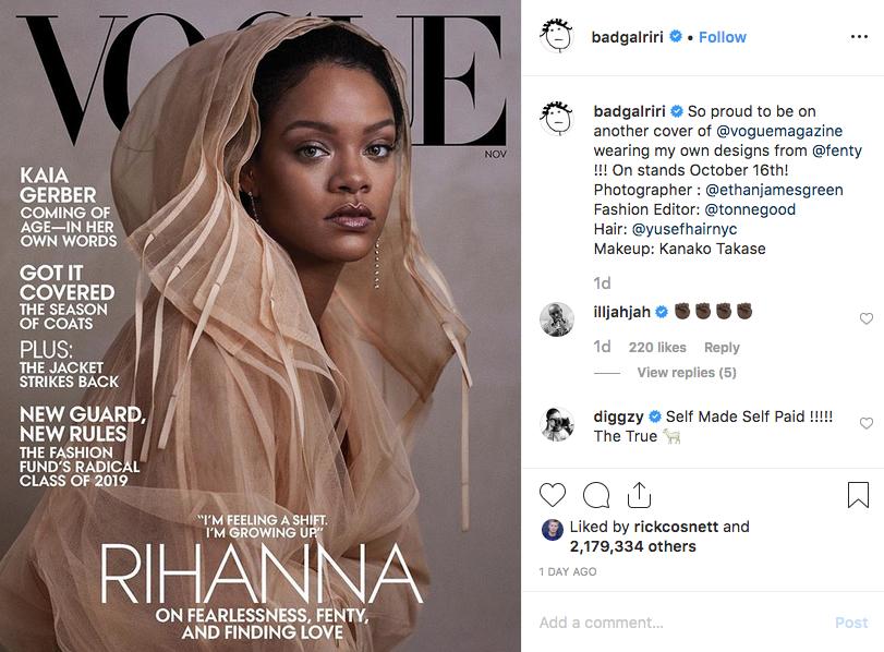 Рианна появилась на обложке американского Vogue. Фото https://www.instagram.com/badgalriri/