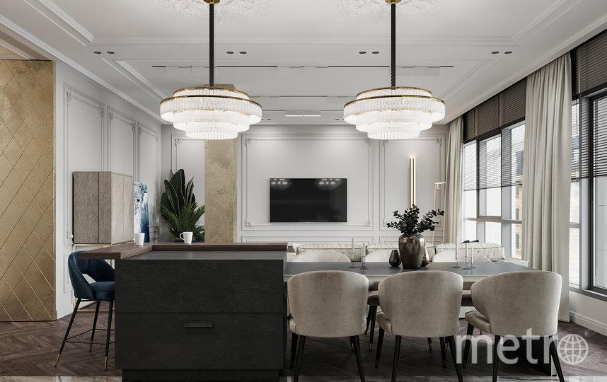 Люстры и лепнина тоже могут быть современными – такие отлично вписываются в стиль эклектика. Фото dede-studio.com