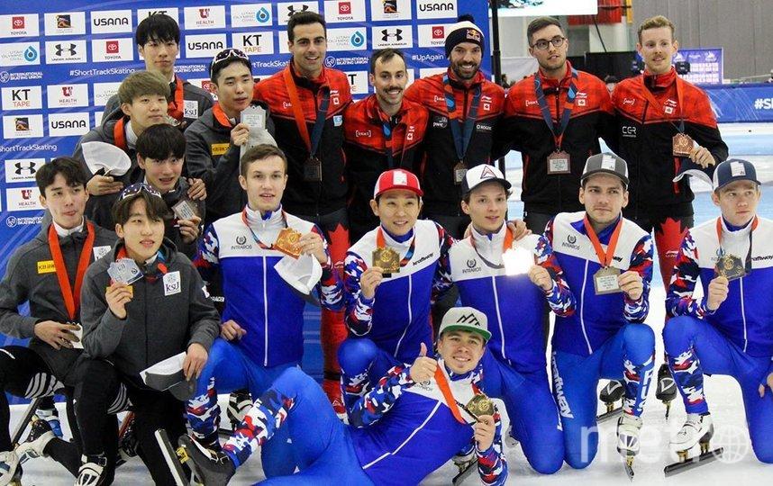Сборная России победила в мужской эстафете на Кубке мира по шорт-треку. Фото Скриншот @utaholympicoval