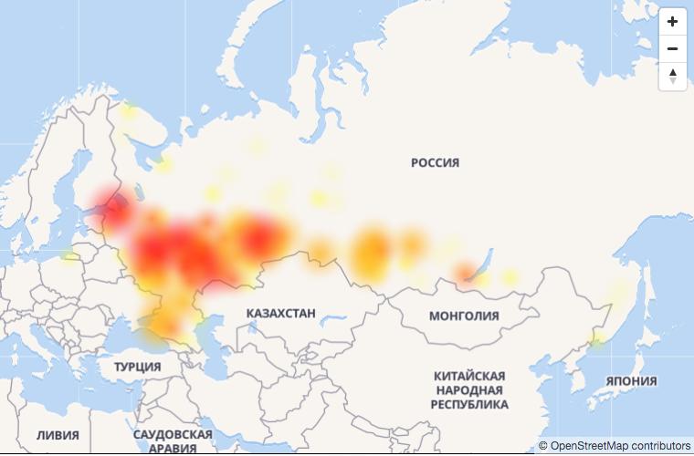 "Пользователи соцсети ""ВКонтакте"" произошёл сбой. Фото скриншот downdetector.ru | © OpenStreetMap contributors"
