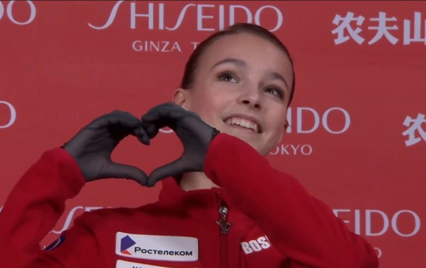 Анна Щербакова выиграла короткую программу Гран-при Китая, установив личный рекорд. Фото cкриншот @team.shcherbakova