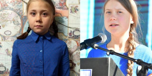 Лариса Ефремова (слева) и настоящая Грета Тунберг (справа).