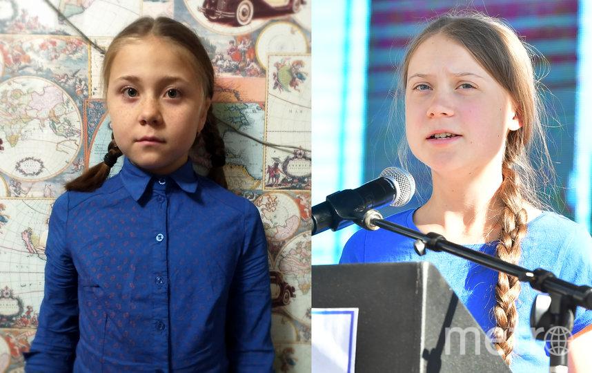 """Лариса Ефремова (слева) и настоящая Грета Тунберг (справа). Фото """"Metro"""""""