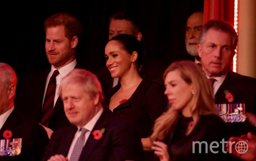 Принц Гарри и Меган Маркл, в первом ряду - Борис Джонсон. Фото Getty