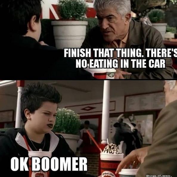 """Надпись на картинке: """"Доедай. Никакой еды в машине"""" – """"Окей, бумер"""". Фото скриншот @kingg_of_memes_"""