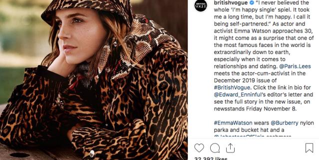 Актриса появится на обложке декабрьского номера британского Vogue.