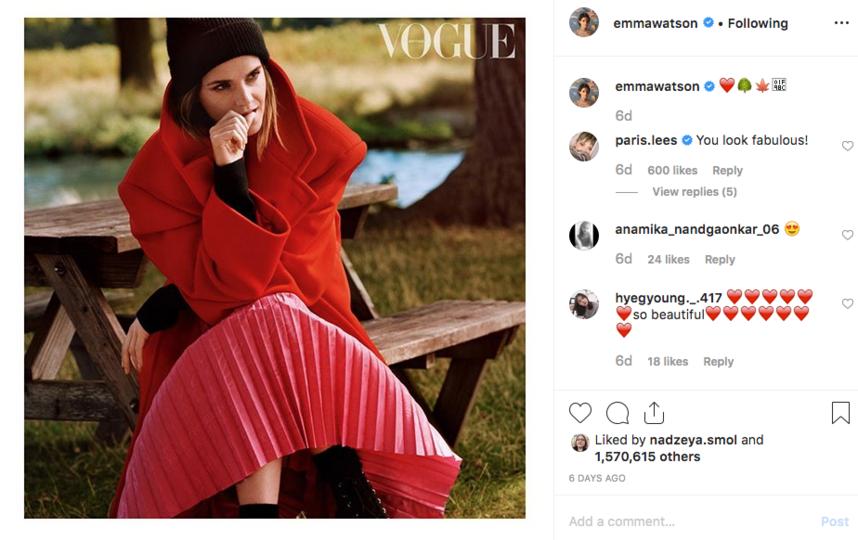 Актриса дала интервью британскому изданию Vogue. Фото скриншот @emmawatson.