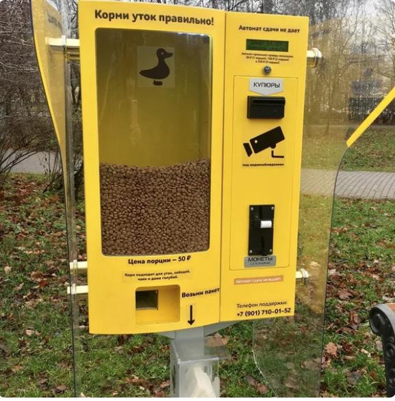 """«Корми уток правильно!» – написано на автомате в Воронцовском парке. Фото скриншот """"Яндекс. Район"""""""