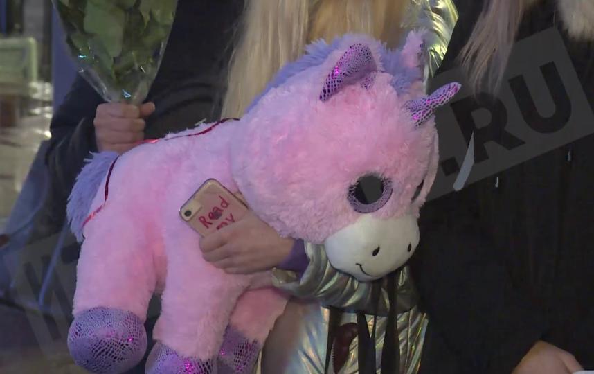 Ольгу Бузову встретили в Петербурге с цветами и розовым единорогом.