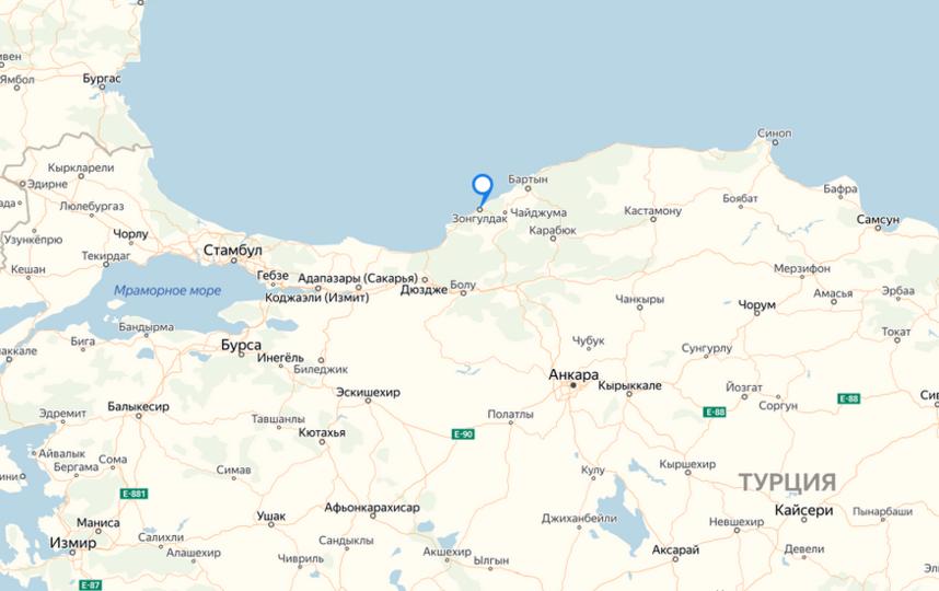 """Зонгулдак находится на южном берегу Черного моря. Фото яндекс.карты., """"Metro"""""""