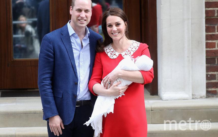 Кейт Миддлтон с мужем и новорождённым принцем Луи. Фото Getty
