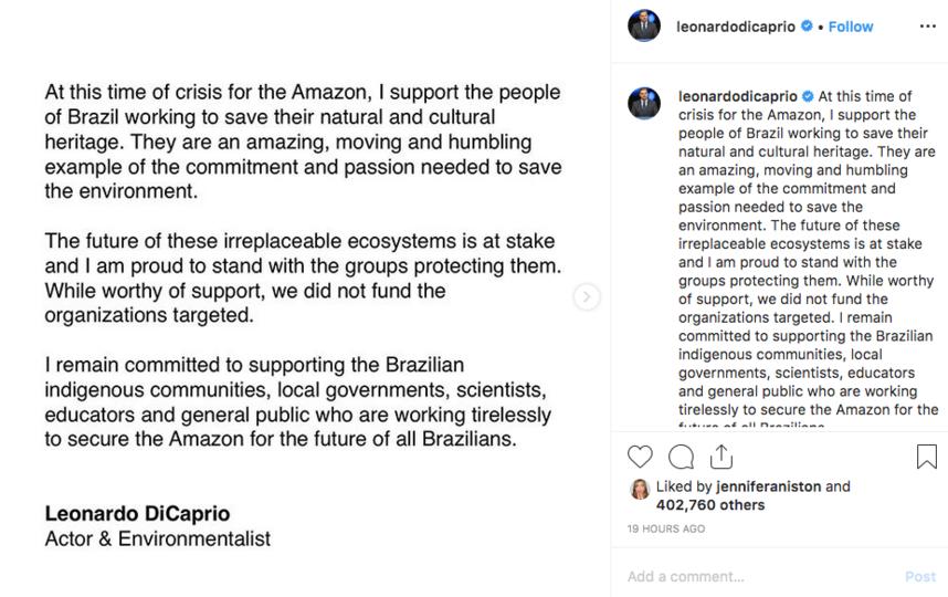Леонардо Ди Каприо ответил на обвинения в спонсировании пожаров. Фото скриншот  @leonardodicaprio