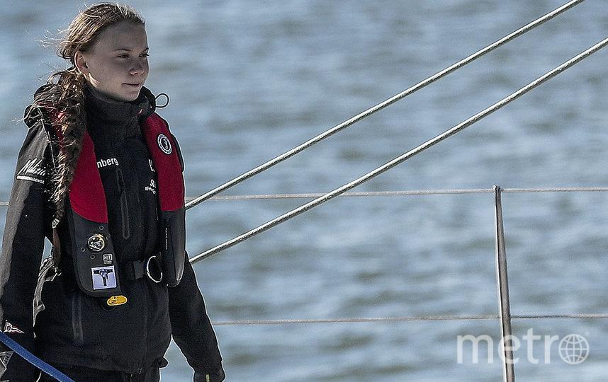 В Лиссабон Грета Тунберг приплыла на катамаране. Фото AFP