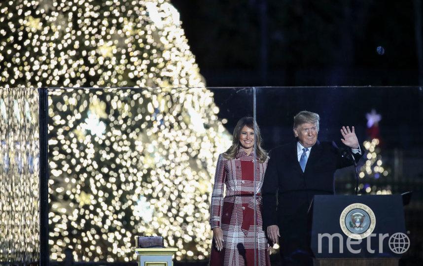 Мелания Трамп на церемонии зажжения рождественской елки. Фото Getty