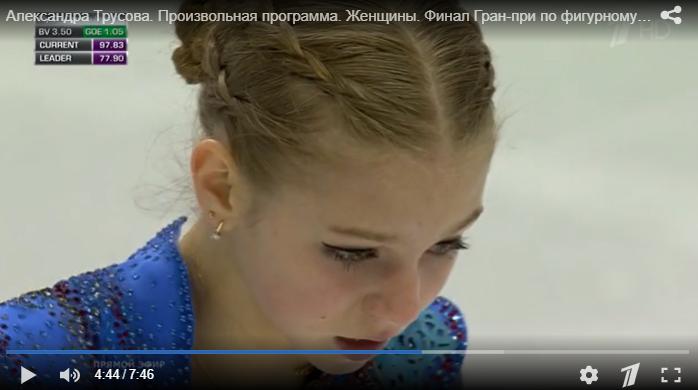 Финал Гран-при в Турине. Александра Трусова. Фото скриншот видео www.1tv.ru