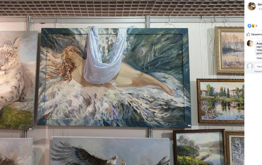 """Несколько работ художников на выставке в галерее """"Урал-Постер"""" в Екатеринбурге подверглись цензуре со стороны администрации экспозиции. Фото скриншот www.facebook.com/vjacheslav.zemlianikov"""