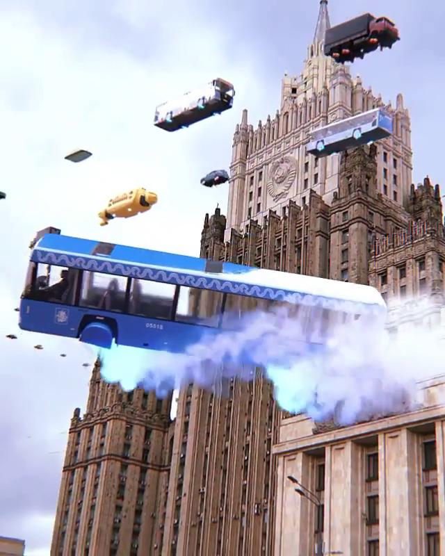 Обычный московский автобус 2077 года входит  в воздушное пике – ничего особенного. Фото скриншот ролика из Instagram @unishkov