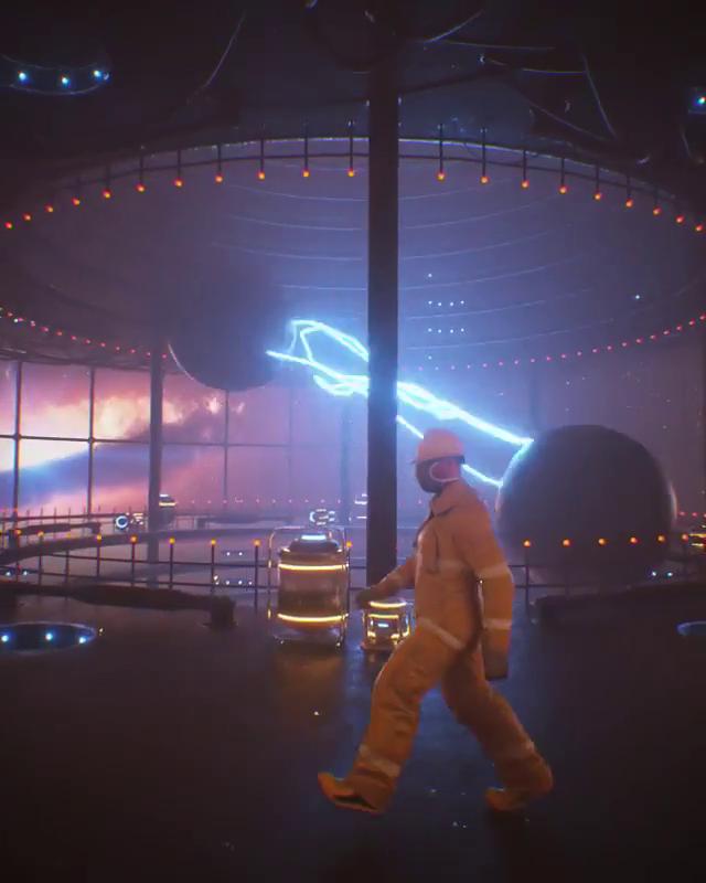 Рабочие электростанции в колонизированном космосе выглядят как современные городские рабочие. Фото скриншот ролика из Instagram @unishkov