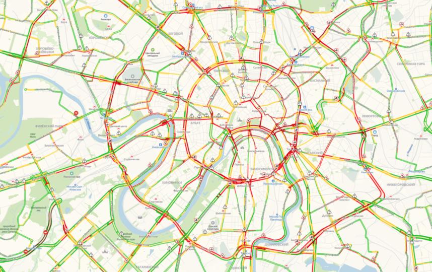Основные затруднения с движением – в центральной части города. Фото скриншот yandex.ru/maps