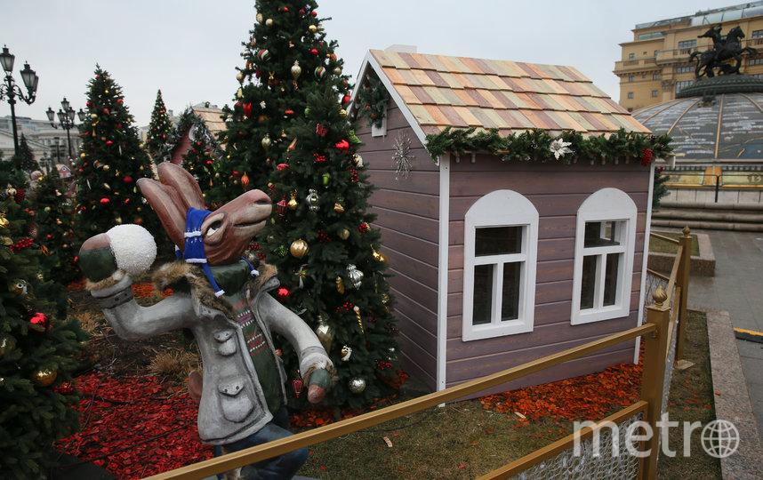 На Манежной площади в рамках фестиваля «Путешествие в Рождество» поселились сказочные лоси, зайцы и другие животные. Фото Василий Кузьмичёнок