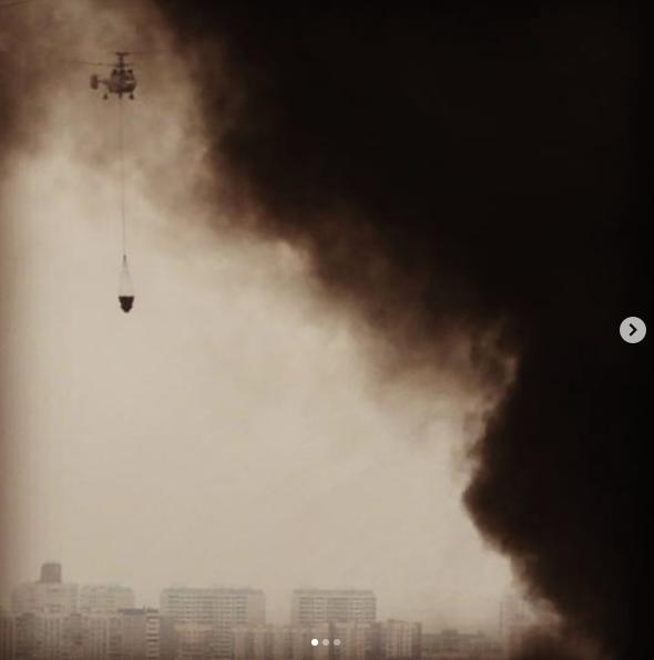 В Москве крупный пожар на Варшавском шоссе, горит склад. Фото скриншот instagram georg.alien
