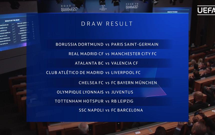 16 декабря прошла жеребьёвка 1/8 финала Лиги чемпионов. Фото скриншот uefa.com