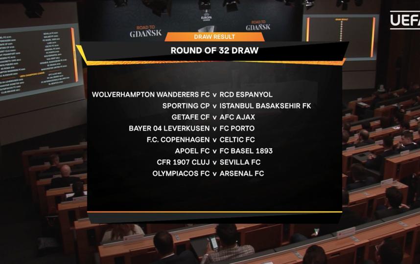В Ньоне прошла жеребьёвка 1/16 финала Лиги Европы. Фото Скриншот uefa.com