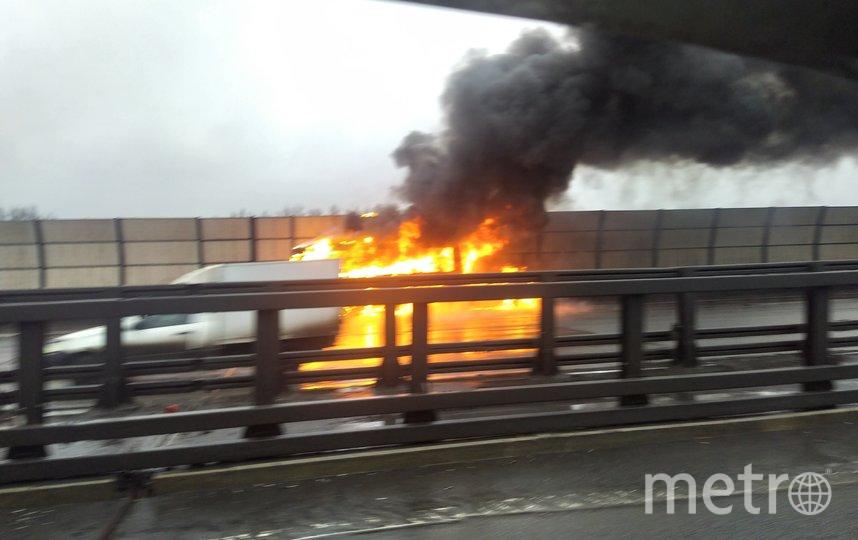 Пожар на КАД. Фото https://vk.com/spb_today, vk.com