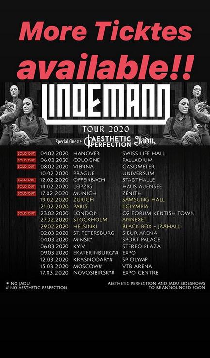 Афиша концертов группы Lindemann. Фото скриншот: instagram.com/till_lindemann_official/