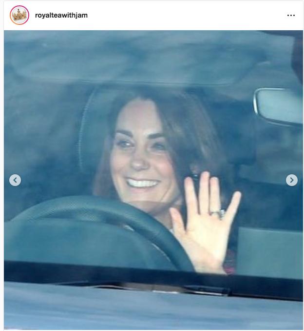 Кейт Миддлтон по дороге на обед к королеве. Серьги на ней. Фото https://twitter.com/KensingtonRoyal