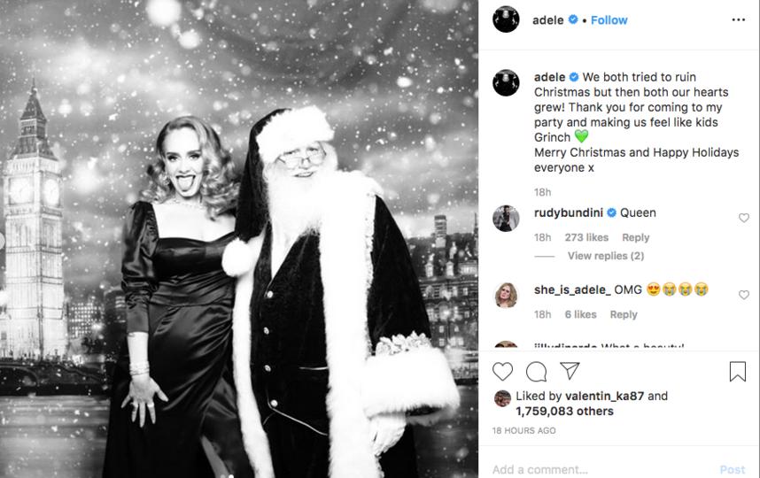 Адель поделилась с поклонниками фотографиями с рождественской вечеринки. Фото скриншот @adele