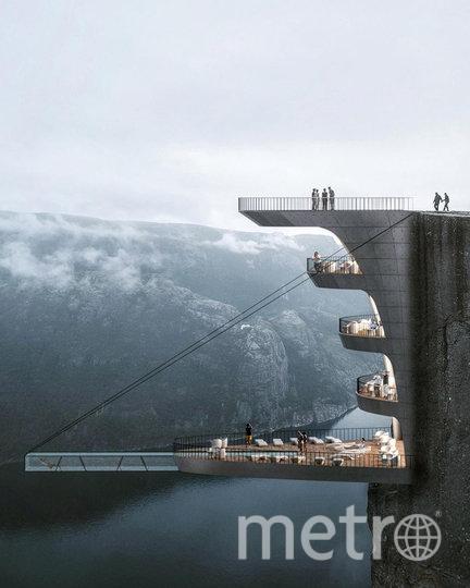 Бутик-отель расположится на вершине норвежской скалы Прекестулен (высота 604 м). Фото Hayri Atak