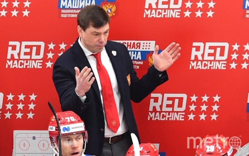 Алексей Кудашов и сборная России по хоккею. Фото РИА Новости