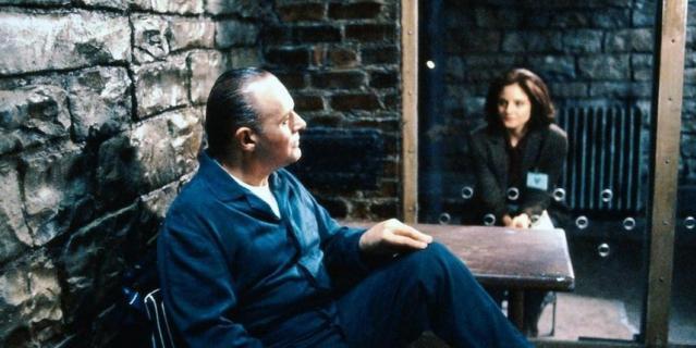 "Кадр из фильма ""Молчание ягнят"" (1991)."