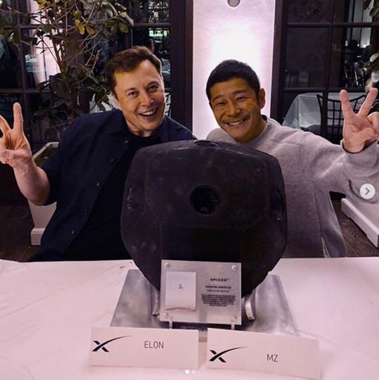 Юсаку Маэдзава и Илон Маск. Фото скриншот @yusaku2020
