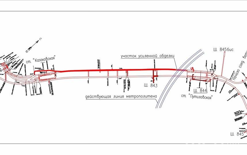 """Схема строительства.  На схеме красным выделено то, что пройдено. Фото https://vk.com/metrostroy_arhiv, """"Metro"""""""