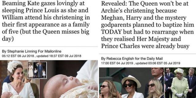 Отсутствие королевы на крещении также воспринималась СМИ по-разному.