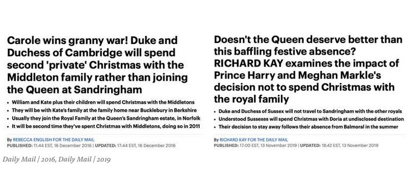 Если верить таблоиду, за три года отношение королевы к отсутствию на празднике поменялось. Фото скриншот Buzzfeed | Daily Mail  2016, Daily Mail  2019