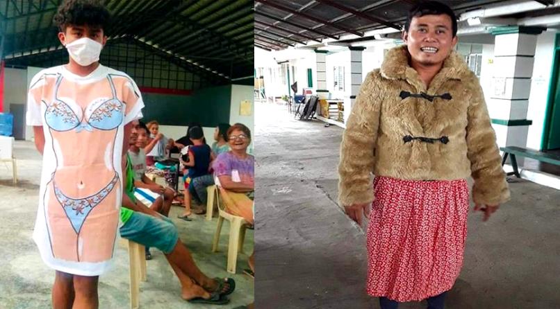"""Филиппинцы пошутили, нарядившись в одежду из посылок с гуманитарной помощью. Фото https://www.facebook.com/malickjames.hilado/posts/2849639835084424, """"Metro"""""""