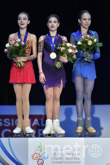 Российские фигуристки заняли весь пьедестал почёта на чемпионате Европы. Фото AFP