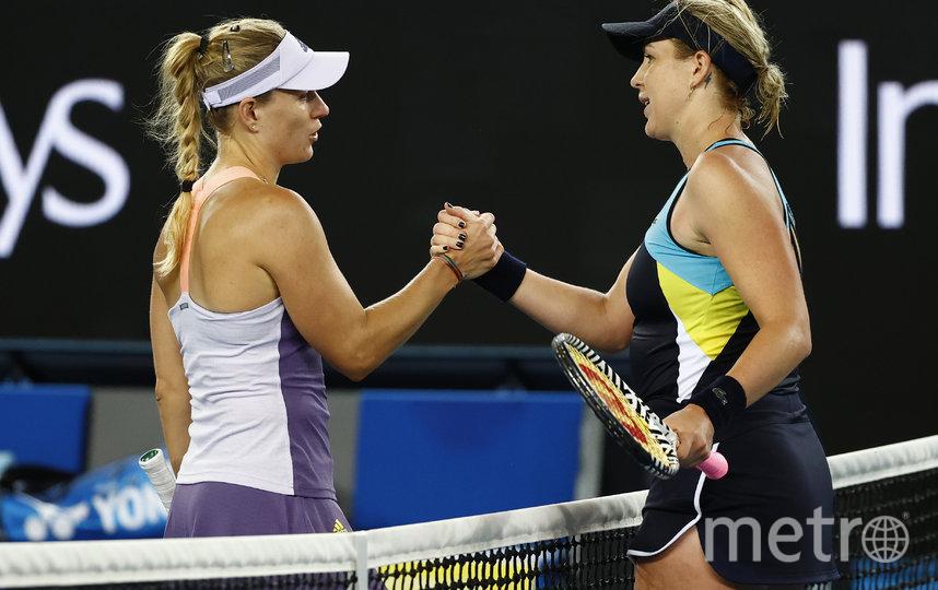Павлюченкова и Кербер на корте Australian Open. Фото Getty
