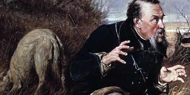 """фрагмент картины """"Охотники на привале"""" Василия Перова, где изображён Д. Кувшинников."""