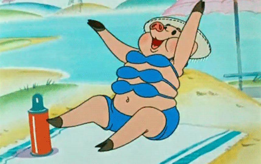 """Лучший купальник в советском мультфильме. Фото кадр из мультсериала """"Ну, погоди!"""", """"Союзмультфильм"""""""