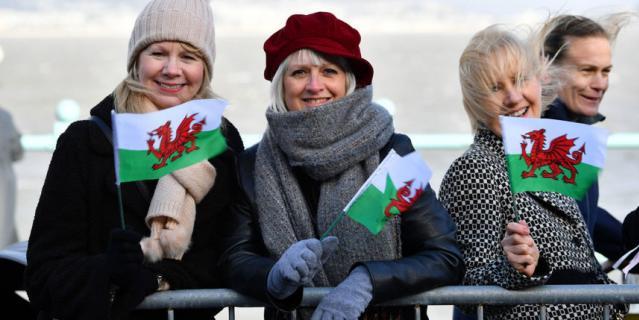 Жители Уэльса встречают Кэтрин и Уильяма.