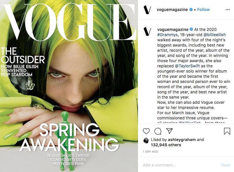 Билли Айлиш появится на обложке мартовского выпуска Vogue. Фото скриншот instagram @voguemagazine