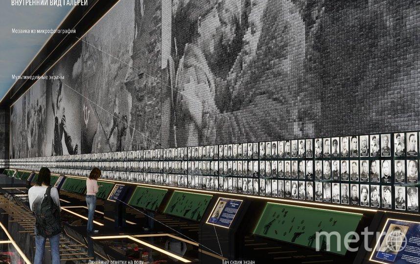 Через экраны на стенах галереи можно будет получить доступ к «досье» любого ветерана. Фото mil.ru